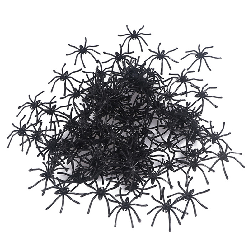 100 pcs Plastic Fake Spider Practical Jokes Props