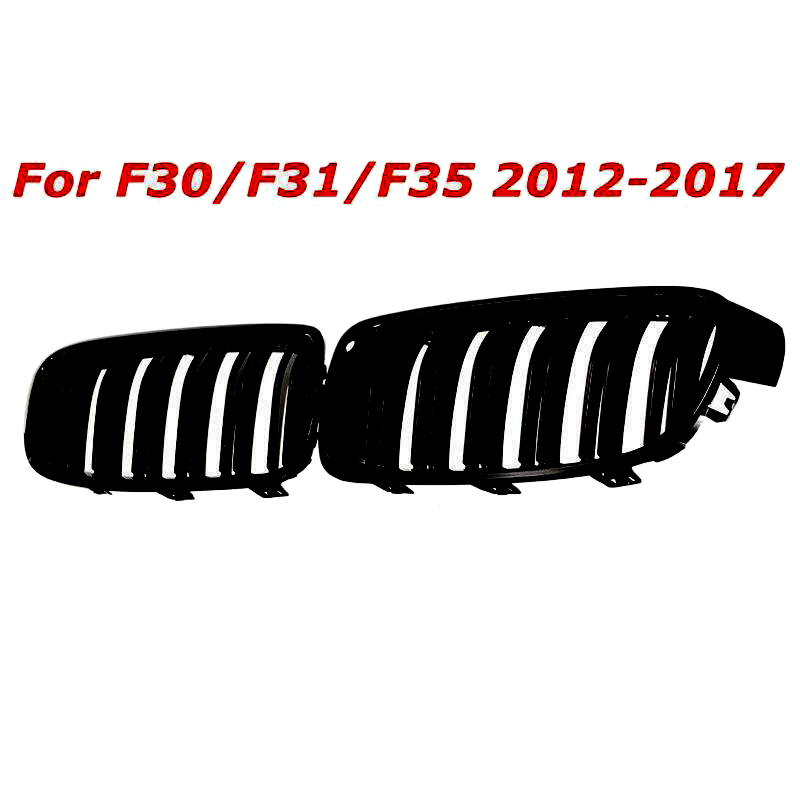 1Pair Gloss Black Front Grille/Grilles Kidney For BMW 3