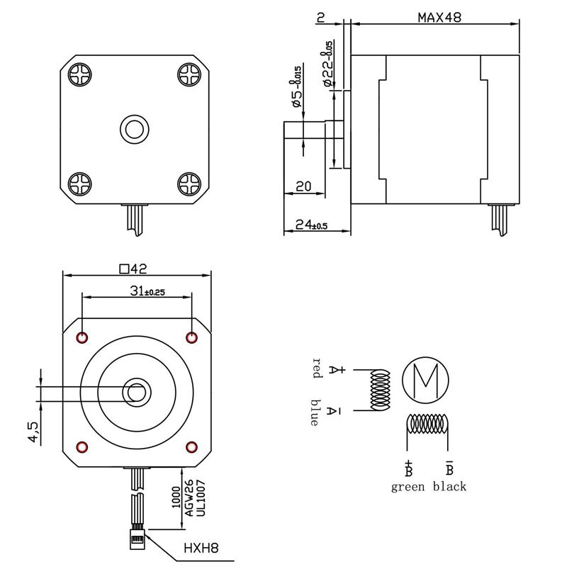 NEMA 17 Stepper Motor, 17HD48002H-22B Stepper Motor for 3D