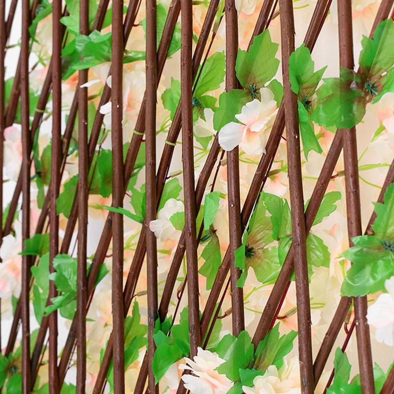 details sur cloture de jardin haie en bois de saule avec feuilles de fleurs artificiell z8q7