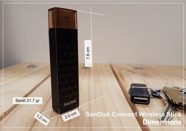 Dimensi SanDisk Connect Wireless Stick