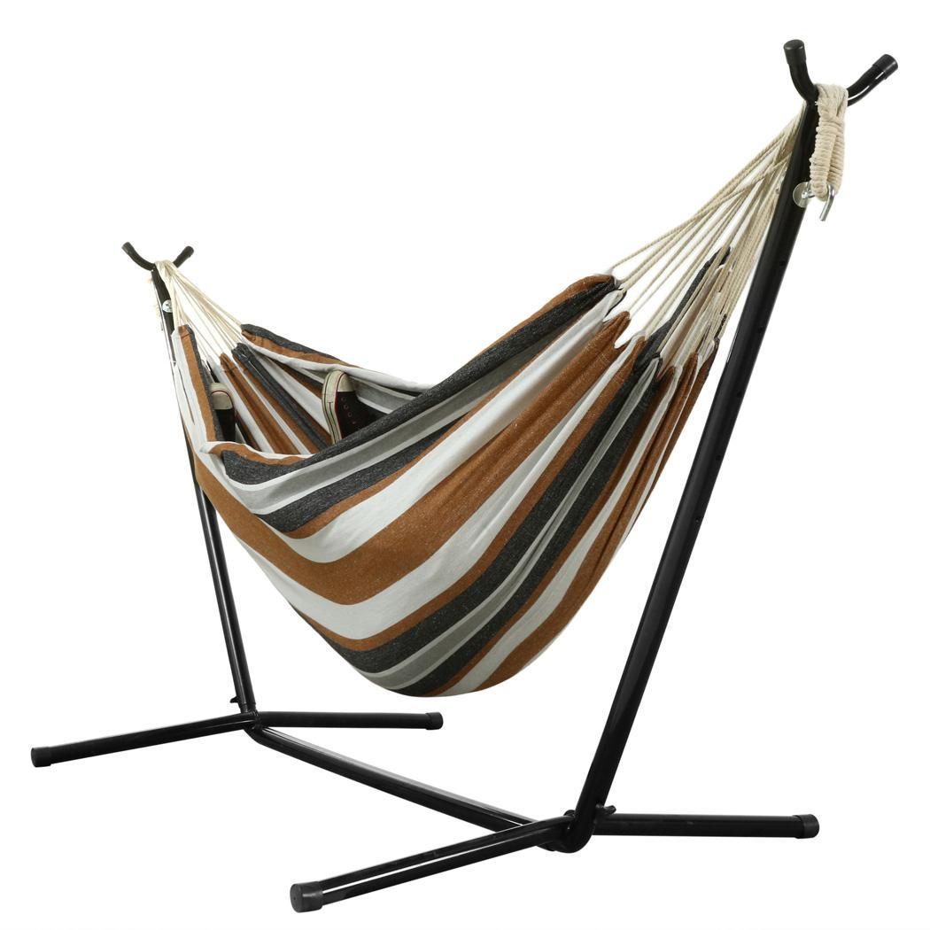 steel hammock chair stand pewter kitchen table and chairs ancheer folding double 2 person swing
