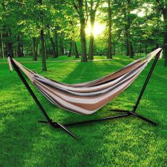 Steel Hammock Chair Stand Covers Rental Brooklyn Ny Ancheer Folding Double 2 Person Swing