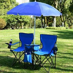 Folding Chair Nylon Antique Rocking With Leather Seat Goplus® Portable Picnic Double W/umbrella Table Cooler Beach Camping ...
