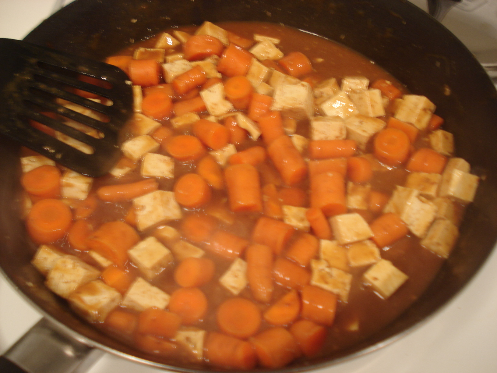 Cooking Vermont curry in a pot