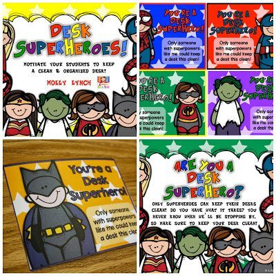 Desk Superheroes motivate students to keep their desks neat & tidy!