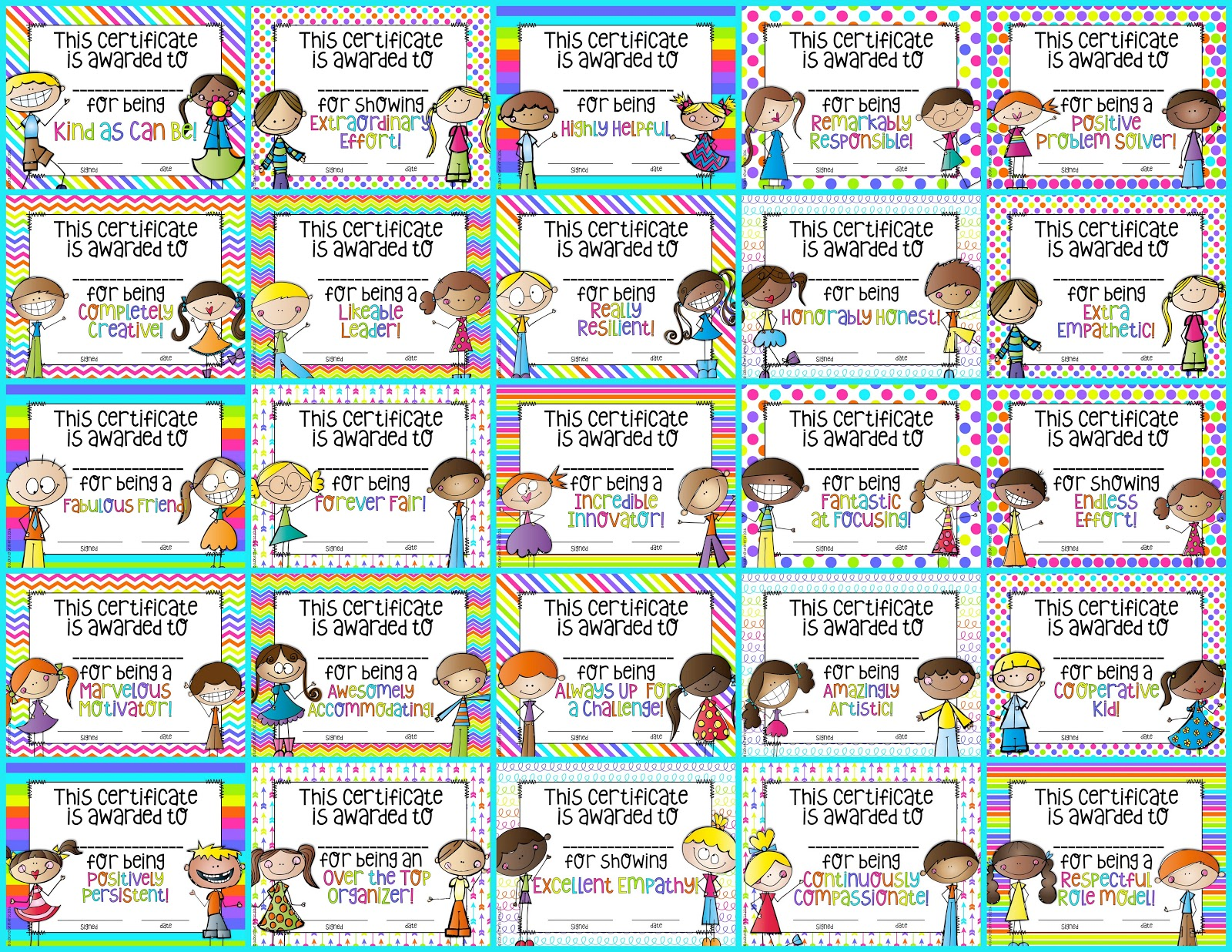 Celebrate great character in your classroom with these Life Skills awards!