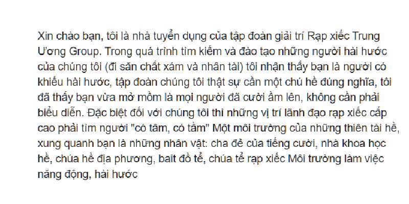 """lucloi.vn_Văn Mẫu """"Xin chào bạn, tôi là nhà tuyển dụng của tập đoàn giải trí Rạp xiếc Trung Ương Group"""""""