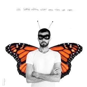 Les super héros n'ont pas tous une cape / Luc Pallegoix, 2013. Encre pigmentaire sur papier Moab blanc 300g. 23x23cm.