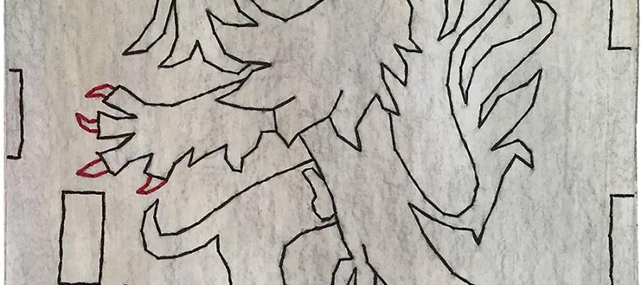 Le lion comtois porte fièrement ses attributs / Luc Pallegoix, 2015. Acrylique sur MDF brodé au Phantex. 83x104 cm