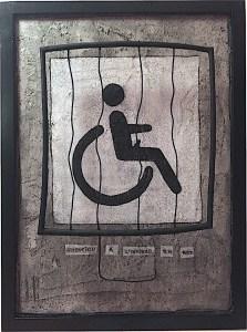 Attention à l'infirme en rut / Luc Pallegoix, 2016. Acrylique et médium mixte sur MDF, 30x40 cm.