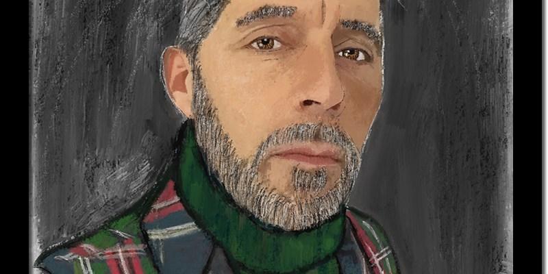 L'HOMME AU TARTAN / Luc Pallegoix, 2016. Peinture numérique puis encre pigmentaire sur papier Moab blanc 300 gr. [31 X 41 cm] Encadré en noir. 1800 $ + taxes