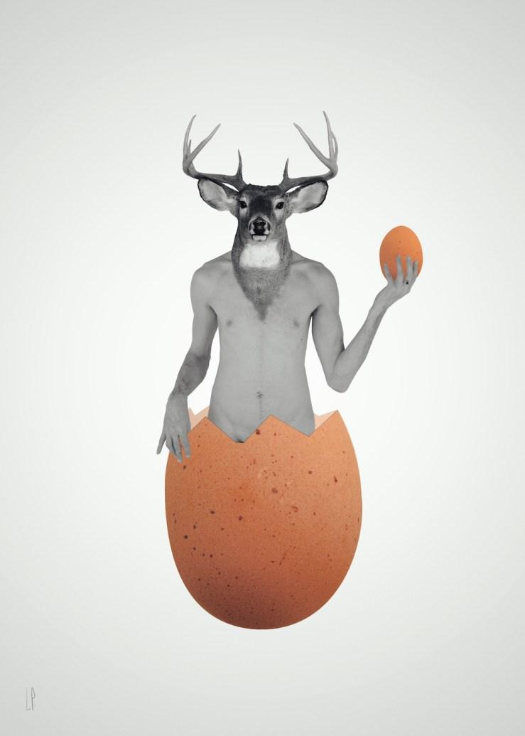 L'oeuf de cerf / Luc Pallegoix, 2014. Encre pigmentaire sur papier Moab blanc 300 gr. Disponible en grand format |50 x 70 cm 5 ex.| ou moyen format | 8,5