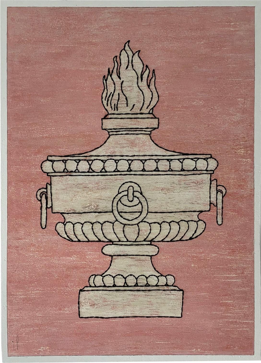 Un pot à feu / Luc Pallegoix, 2021. Acrylique et encaustique sur panneau de contreplaqué, percé et brodé au Phentex. 122 x 89 cm.