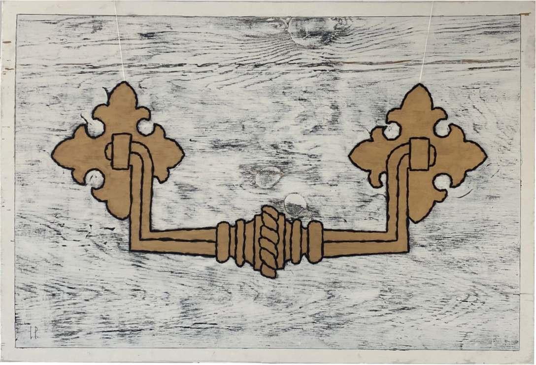 Une poignée de buffet Henri II / Luc Pallegoix, 2021. Acrylique et encaustique sur panneau de bois contreplaqué, percé et brodé au Phentex. 3x2 pieds