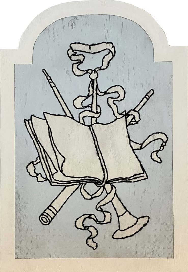 Un boulingrin aux attributs de la musique / Luc Pallegoix, 2021. Acrylique sur panneau de bois contreplaqué, percé et brodé au Phentex. 88x61 cm.