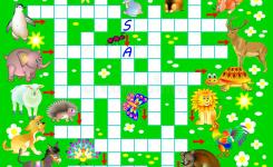 Download Crossword Puzzle Game With Funny Animals Educational Page For Children For Study English Words