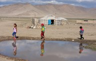 Children in Khovd city, West Mongolia