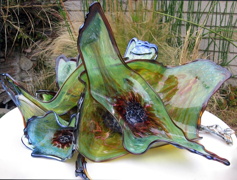 Hand Blown Ocean Flower Glass Art