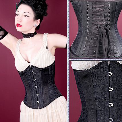 Black Floral Brocade Slim Corset