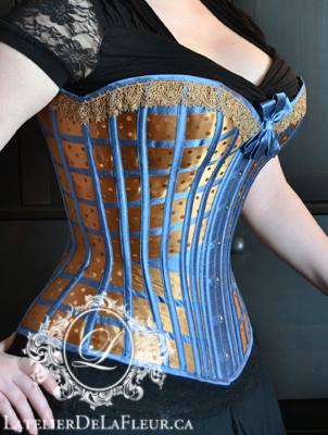 Bespoke Victorian lattice demibust recreation by L'Atelier de LaFleur (modelled by Mina herself), starts at $500