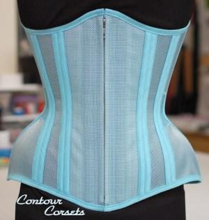 Contour Corsets blue summer mesh underbust