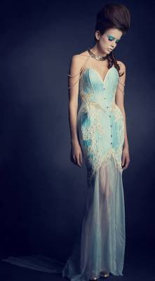 This stunning corset dress with sheer fluted skirt by Persephone Corsetry (UK) won the Young Designer Award in 2014. Photo: Stuart McClay. MUA: SC Makeup. Model: Michaela Crompton