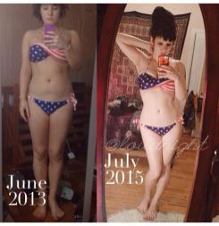 "Miranda in June 2013 with a natural 31"" waist, and 2 years later with a natural 25"" waist"
