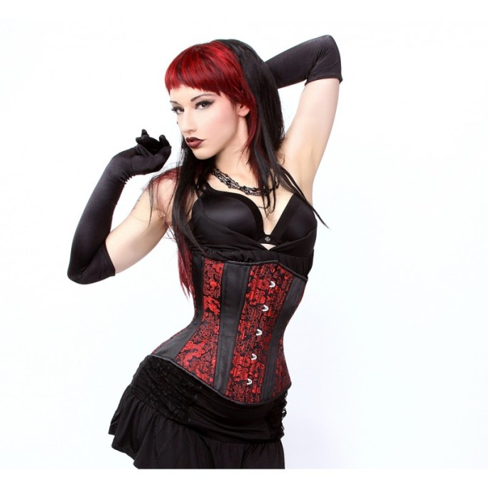 hourglass red black dragon corset