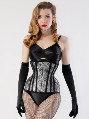 The Mae Extreme corset from What Katie Did features hip gores and a fairly high hip spring, which is suitable for someone who has a large waist-to-high-hip difference, but then not much of a difference between high and low hip.