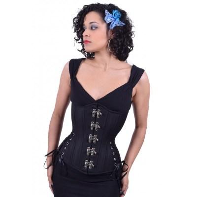 black cashmere swinghooks long hourglass corset