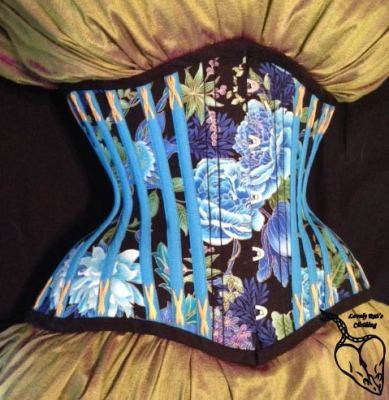 The details of the fashion fabric of this particular corset. Click through to see Amber's Etsy store for more samples.