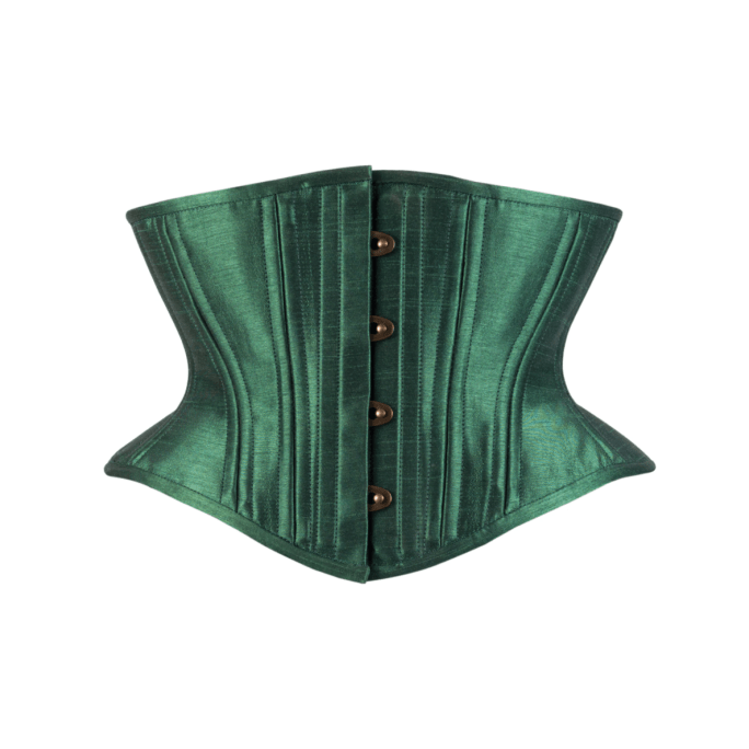 Timeless Trends leaf green satin hourglass cincher, available on Lucy's Corsetry, $89 USD