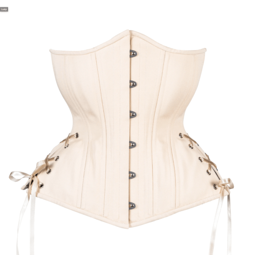 Timeless Trends hourglass silhouette beige cotton longline corset for sale at Lucy's Corsetry, $109 USD