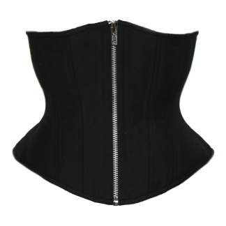 TT black cashmere hourglass underbust corset with silver front zipper closure, available from Lucy's corsetry $99 USD