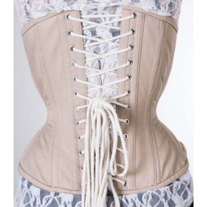 True Corset beige cotton Artemis waist training tight lacing corset for sale at Lucy's Corsetry $99 USD