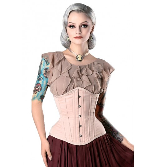 Rebel Madness beige satin waist training tight lacing corset for sale at Lucy's Corsetry $79 USD