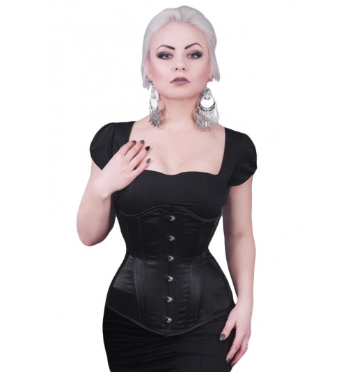 Rebel Madness black satin longline waist training tight lacing corset for sale at Lucy's Corsetry $80 USD