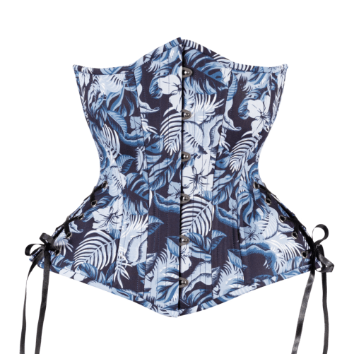 Timeless Trends hourglass silhouette blue Hawaii print brocade longline corset for sale at Lucy's Corsetry, $109 USD