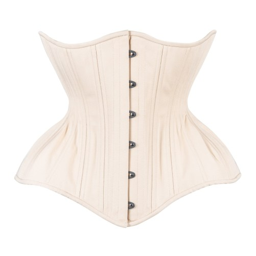 Timeless Trends creme cotton Gemini corset in the conical rib silhouette, available on Lucy's Corsetry, $109 USD