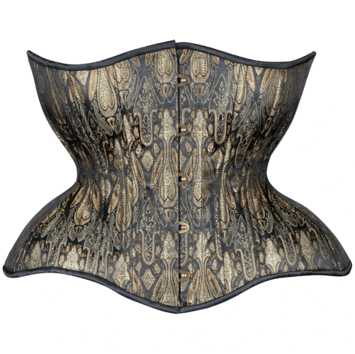 Antique Black and Aged Gold Round Rib Gemini corset available on Lucy's Corsetry for $109 USD