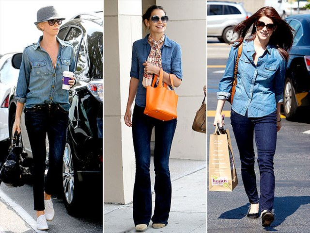 Charlize Theron and Katie Holmes - Celebrities in Denim on Denim