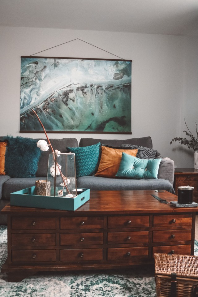 large poster wall art above a sofa