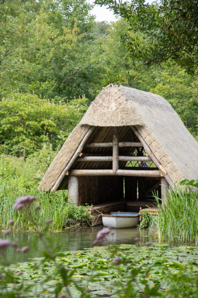 Close up of the boat hut on the pond.