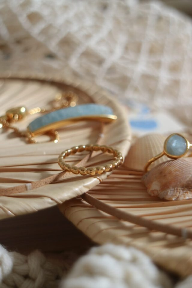 close ups of the blue jewellery