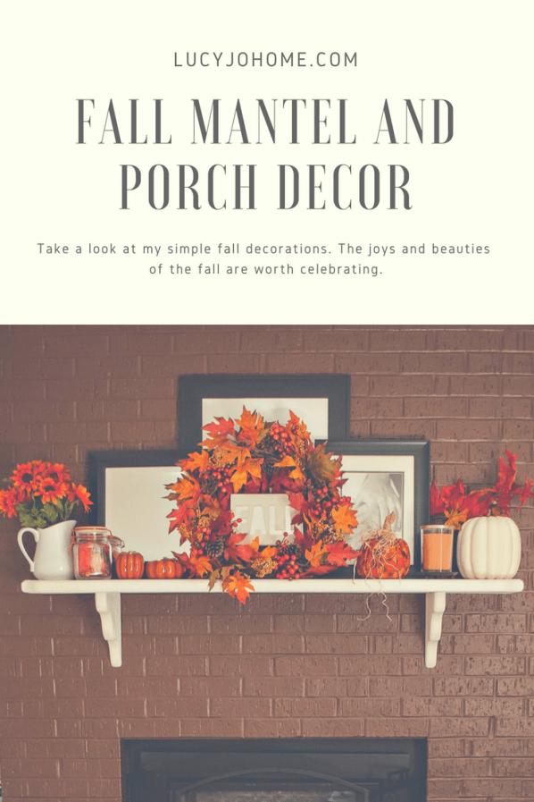 fall mantel and porch decor