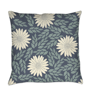 blue and white floral throw pillow