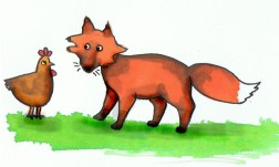 chicken and fox