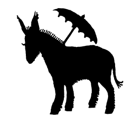 donkey with parasol vector