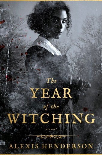 top 5 books - the year of the witching book cover with a girl with curly hair surrounded by trees and blood